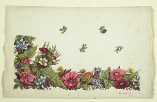 Multi-colored floral border with carnations, pansies, dahlias, small floral sprigs above.