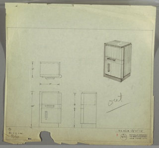 Perspective, plan, and elevation drawing for end table in blond and dark wood. Left side of table and surface in darker wood; right side and front in lighter wood. Rounded edges along right side. Drawer at top, no handle; narrow drawer at center with rectangular, horizontal pull; larger cabinet below with vertical handle.