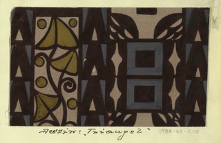 Taupe ground with a geometric pattern of rectangles, diamonds, and triangles with a stylized vine motif in shades of ochre and gray outlined in black.
