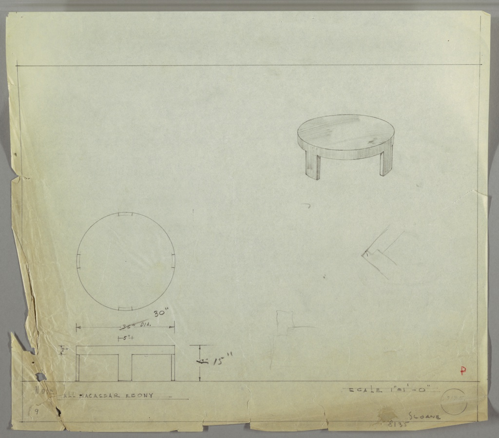 Perspective, plan, and elevation drawing for low macassar ebony coffee table. Thick circular top of table with four wide, rectinilear legs. Outside of legs conform to curve of table.