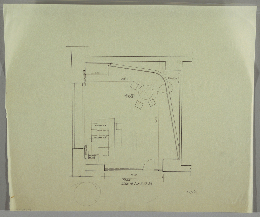 Plan and scheme of an office space with a waiting area and two salesman cubicles; including dimensions.