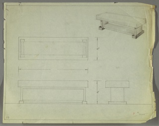 Drawing, Bench: Wood, Upholstered, early 20th century