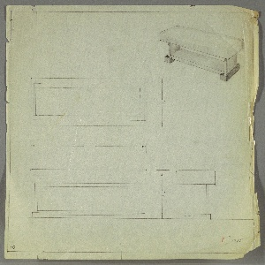 Drawing, Bench: Wood, Upholstered, ca. 1932