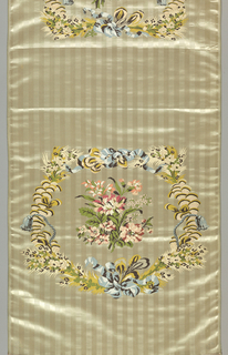 Textile panel woven for a chair seat and back. Design in brocaded multicolored silk of floral and ribbon wreath enclosing a bouquet of realistically-worked flowers. Ground of cream-colored vertically-striped satin.