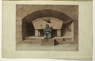 Drawing, Sepulcher with Death Seated and Crowned