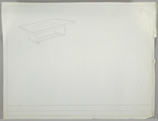 Sheet with one drawing at upper left.  Line drawing of dining table with horizontal glass (?) insert in middle; base on two ends of curving wood joined by two round metal tubes forming stretcher. Ruled border on tour sides of sheet.