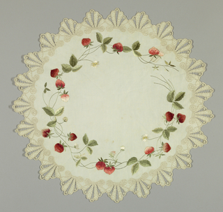 White linen table mat embroidered in colored and white silks. Edge of deep scallops, worked in white, with French knots, buttonholes and drawn work. Inner border of realistic strawberry vine in reds and greens and white. Satin stitch and stem stitch. Embroidered by donor's mother.