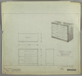 Drawing, Chest: Four Drawers with Long Rectangular Pulls, One per Drawer, Off-Center, September 1, 1933
