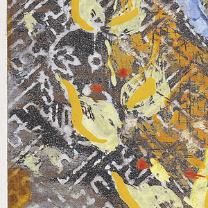 On silver patterned paper, a seven-branched blue menorah in middle of orange circle with wreath of yellow leaves framing circle. Residue of gold cellophane around edges.