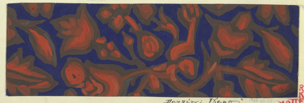 Blue ground with a stylized floral/vegetal pattern in orange, light brown, and dark brown