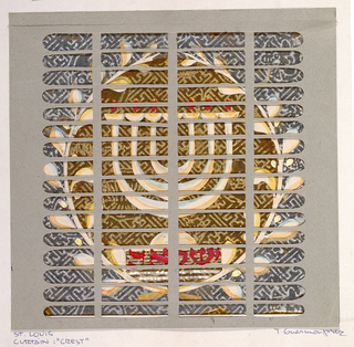 Collage of seven-branched menorah encircled by wreath.  Inscribed on base of menorah in red, 5 Hebrew characters (to be translated).  Gray paper screen of horizontal and vertical lines overlays design.