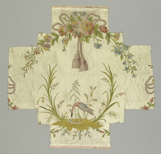 Breadth of cream satin with design in pastel chain stitch and touches of black.  Set sidewise on it: arched garland caught with bow and heavy tassels at top over small landscape with crane-like bird bent over snail.  Sides cut in shape of arms of cross.  Two broad selvages with pink pencil stripes, narrow cloth outer edge.