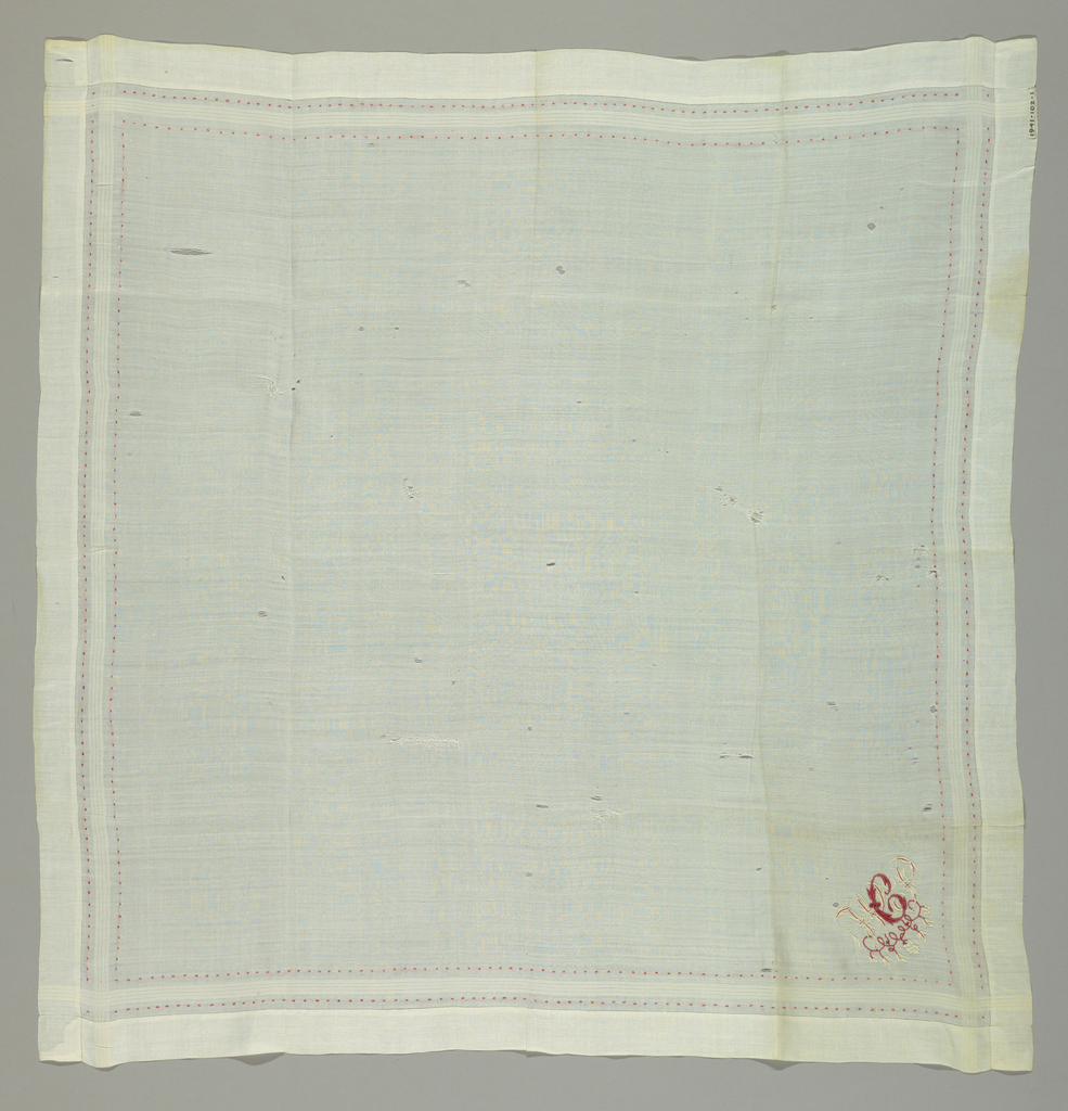 White linen handkerchief with border of four woven and two embroidered stripes and a monogram, W.P.C with vine pattern embroidered in red and white cotton.