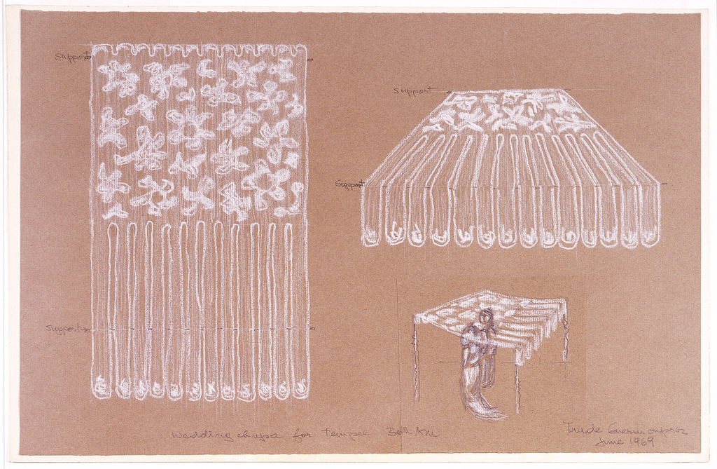 Three views of huppah wedding canopy: at left, canopy laid flat; upper right, canopy viewed frontally; lower right: canopy suspended on four poles with a couple of figures sketched beneath. Canopy has white flowers scattered over one half, with long flat fringes forming part of canopy hanging over the front edge.
