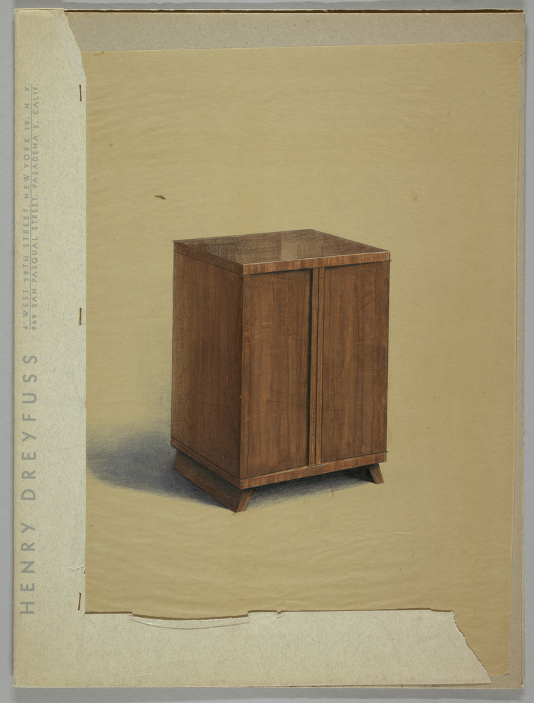 Wooden cabinet with two sled feet, two doors; in brown. Illustration is mounted and labeled with Henry Dreyfuss letterhead, attached with staples.