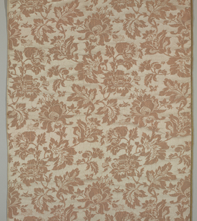 Sample with a pattern of lace-like flowers and foliage in dusty pink and off-white.