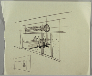 Office entrance with figures leaning at counter; figure behind counter; small sketch at lower left of the entrance. Above: CITIES SERVICE / TRAVEL BUREAUS.