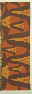 Abstract pattern of scalloped forms, with overlapping colors of varying thickness in brown, burnt orange, and yellow-orange