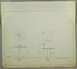 Plan and elevation for two versions of an ashtray/end table. Table at left has round glass top with round ash tray recessed into center of table. Tubular metal pedestal support and wood base. Table at right has round glass top and three thin tubular metal legs. Round ash tray extends above surface of table and supported by tubular metal pedestal.