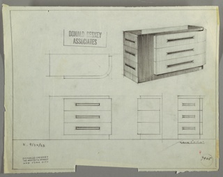 Drawing, Chest: Three Drawers within Curved Front Panel; Additional Three, Left Side; Rectangular Pulls,  Centered, September 30, 1933