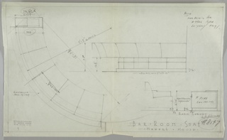 Design for bar room seating for Richard H. Mandel house. Curved, built-in sofa in lower right corner with five seats. Side table to left of sofa, reflector behind sofa. Drawing in lower right corner shows radio cabinet next to sofa with speaker in upper half of cabinet.