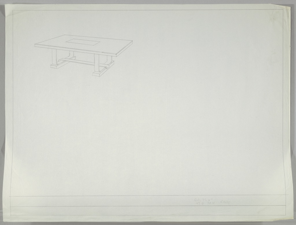At upper left;  design for a dining table in line drawing.  Top with horizontal glass insert; rest of surface unspecified material.  Squarish U-shaped supports on each end with single piece at stretcher.  This table was used in the Metropolitan Museum of Art 1934 exhibition, Contemporary American Industrial Art.
