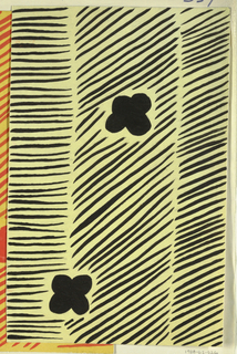 Striped pattern with small blossoms in black and yellow.