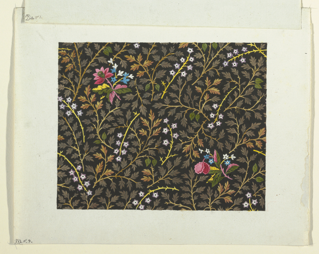 Small clusters of pink, blue and white flowers on black ground decorated with a leafy pattern and star motifs.