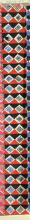 Diamond pattern in black, white, red, and blue.