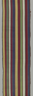 Narrow silk length in yellow, red, green, white and blue vertical stripes set off by smaller stripes in black and dark blue.