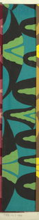 Abstract pattern of scalloped forms, with overlapping colors of varying thickness in turquoise, green, and black