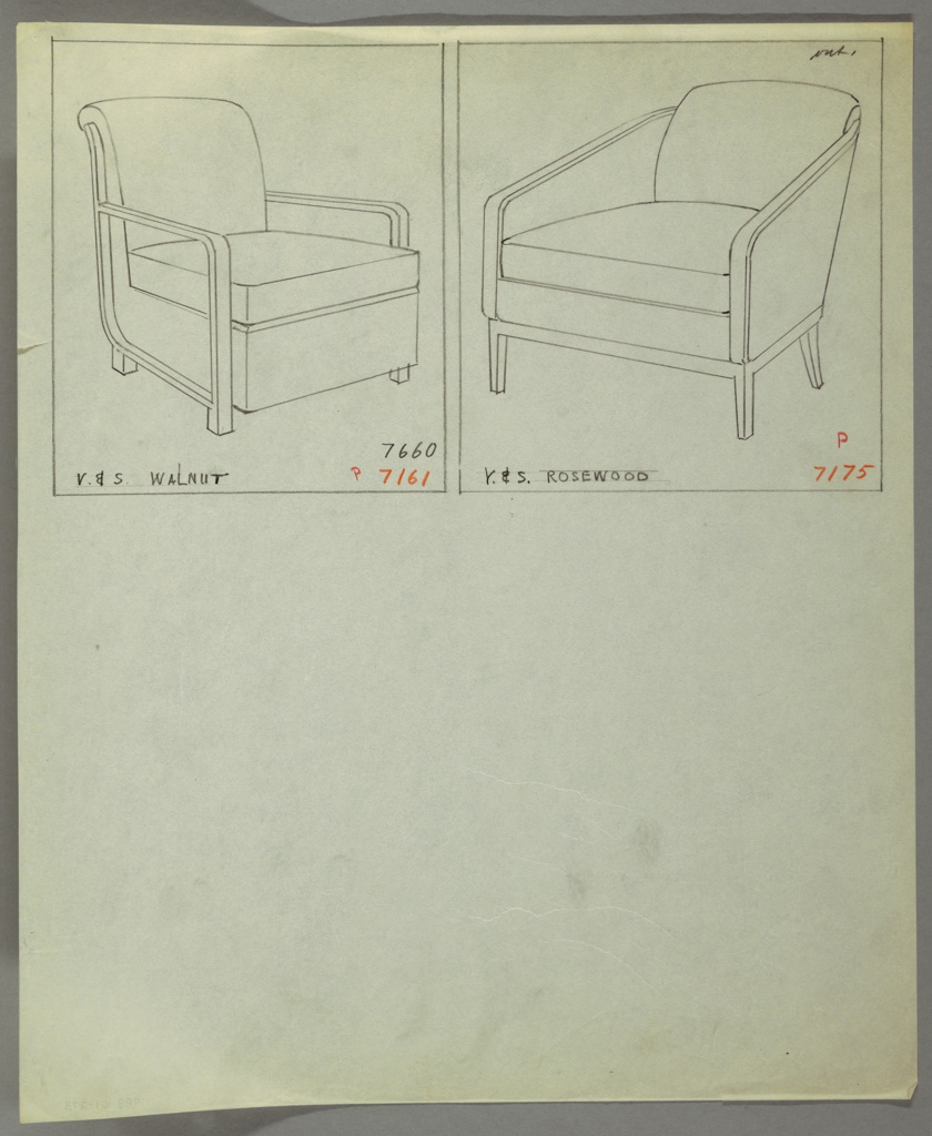 Drawing, Armchair, Wood, Upholstered, 1930–1935