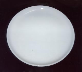 Glazed white dinner plate.