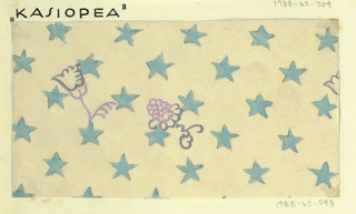 Pattern of blue stars on cream ground, with two floral motifs in purple.