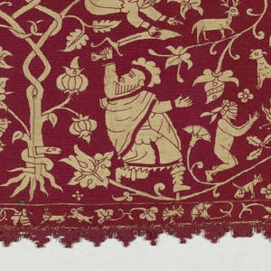Border of natural-colored linen embroidered in red silk;  the embroidery fills the background, and the figures are reserved in the foundation linen. Within a framework of entwined branches, two episodes from the story of Abraham and Isaac: Isaac gathering the firewood, and the Angel staying Abraham's sword. With upper and lower borders of birds, animals and flowers. Red needle lace edging top and bottom.
