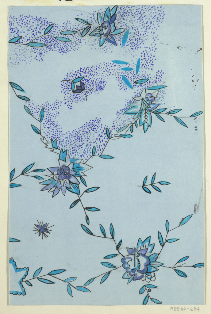 Leafy floral pattern in blue and purple.