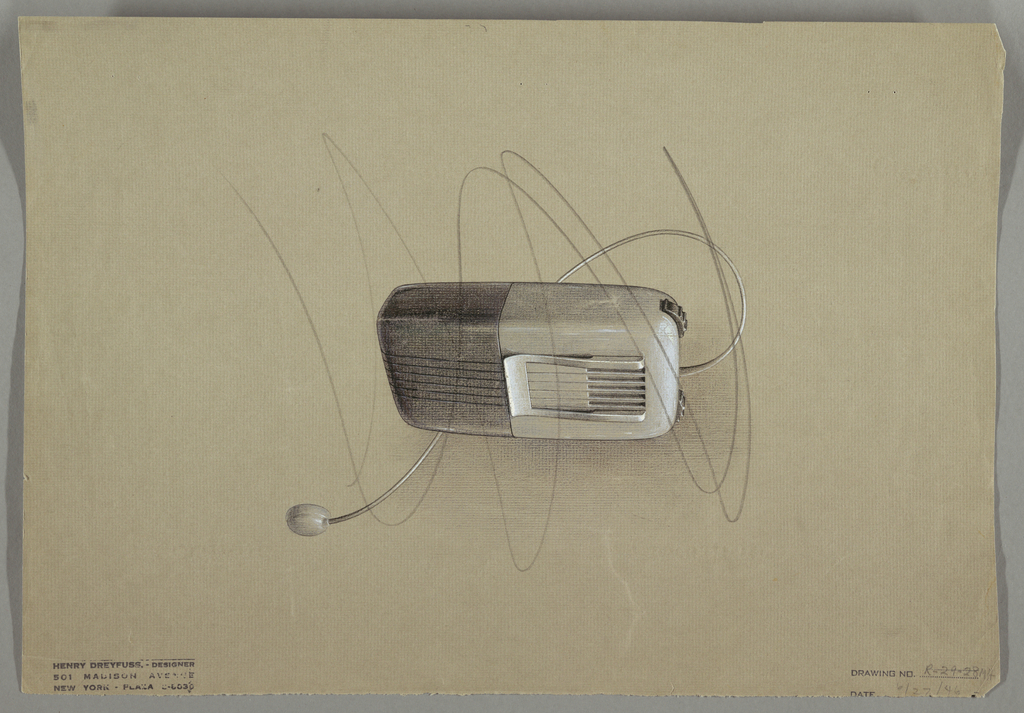 Design for a hearing aid in gray and white; streamlined with rounded corners, with an earbud; black dial and striated for speaker; with clip.
