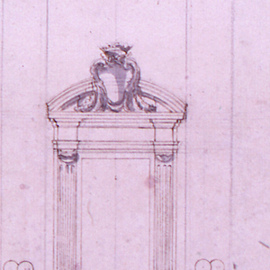 In the center is the elevation. In front of the door frame stand two Doric columns which support a balcony in the second floor. The entablature of the frame of the upper door is supported by gaine-like pilasters. It has a circular pediment with a large escutcheon in front. At left are the door cases shown in profile with balustrade at left. A section of the lower entablature is at the right edge. Below in the center are the plans of the door cases and of the balcony.
