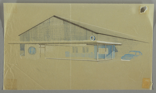 Elevation of a building with blue wall; blue car outside.