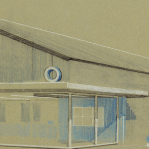 Drawing, Elevation of building, 1953