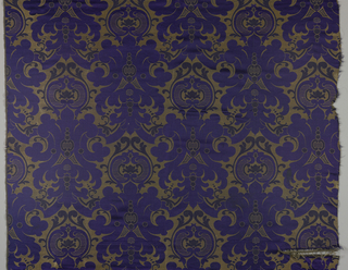 Staggered repeat of symmetrical formal leaf-like scrolls and ogival forms in dark blue, purple and gold.