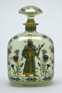 Light green glass; Egyptian style painted painteed decoration