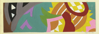 Abstracted floral and leaf pattern in green, yellow, purple, gray, black, brown, and white.