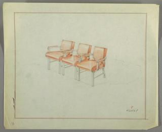 Drawing, Armchairs: Interlocked, Metal