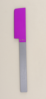 Flat rectangular handle of grey aluminum; brushed surface. Rectangular aluminum blade, anodized purple, with rounded outer point and bevelled cutting edge. Blade affixed to handle side with three silver rivets.