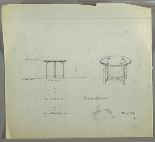 Perspective, plan, and elevation drawing for round end table. Circular top of table in glass; four strip metal legs curved at top and underneath table; cross stretcher near floor.