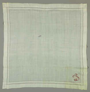 White linen handkerchief with border of four woven and two embroidered stripes and a monogram, W.P.C. in lavender and white cotton.