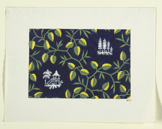 Green and yellow leaf design on dark blue ground, scattered white oriental motifs.