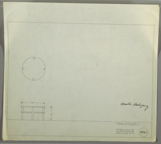 Plan and elevation drawing for round, bleached mahogany end table; four staight, squared legs, stretcher around legs.