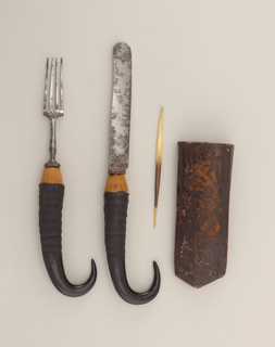 Flat paper case for five implements covered with stamped leather, floral and scrolled design, some traces of gold.